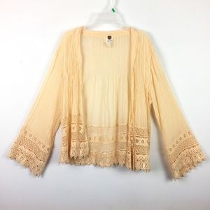 Free People Cardigan Open Knit Salmon FP One Lace